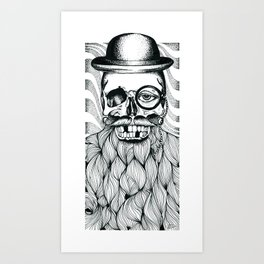 Mr. Skull Beard Art Print