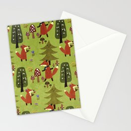 Happy foxes in the forest - Cute Fox Pattern Stationery Cards