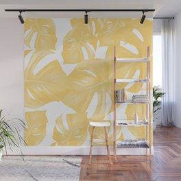 Monstera Leaves Yellow Summer Vibes Pattern #1 #tropical #decor #art #society6 Wall Mural