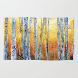 Birch Trees at Sunset Rug