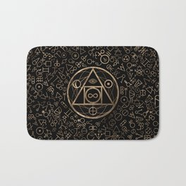 Philosopher's stone symbol and Alchemical  pattern #2 Bath Mat