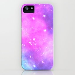Hand painted pink purple turquoise watercolor nebula space glitter stars iPhone Case