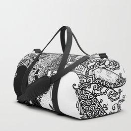 Unity of Halves - Life Tree - Rebirth - White Black Duffle Bag