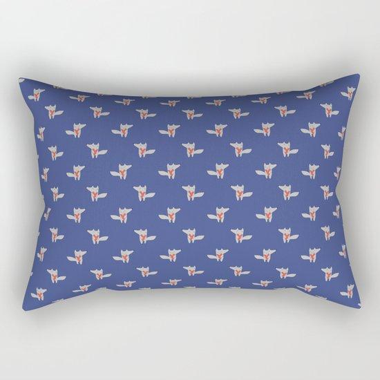 Fox in love blue Rectangular Pillow