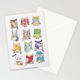monthly owls Stationery Cards