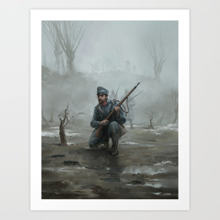 Patrol on the Dniestr Art Print