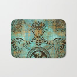 Elephants Lotus Flower Distressed Mandala Design Bath Mat