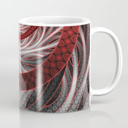 Beautiful Silver and Red Fractal Vampire Scales Coffee Mug