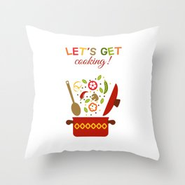 Fresh vegetables in pan Throw Pillow