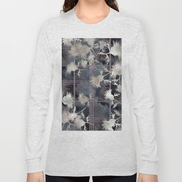 Thistle Flower Felted Plaid Pattern Long Sleeve T-shirt
