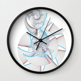 The Waves Of Japan in Red and Blue Wall Clock