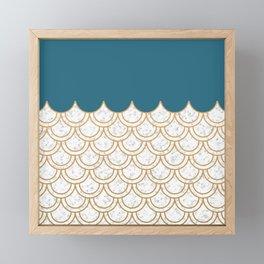 Modern minimalist teal mermaid pattern Framed Mini Art Print