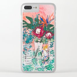 Cockatoo Vase - Bouquet of Flowers on Coral and Jungle Clear iPhone Case