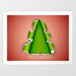 Christmas tree made of torn paper Art Print