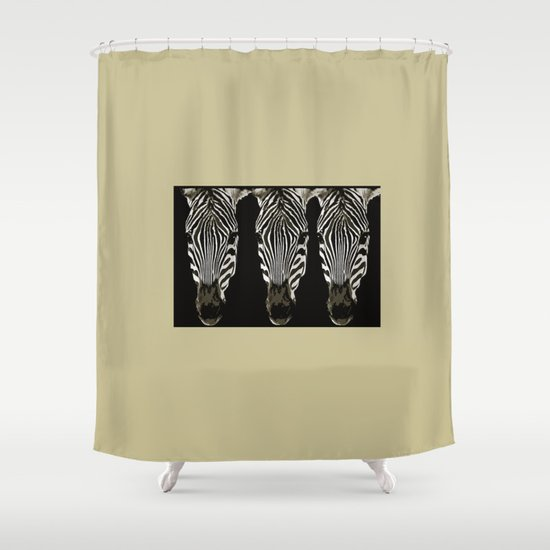 Three Zebras Black And White Beige Background Society6 Buyart Shower Curtain By P Ivi