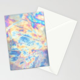Holographic colorful oily marble pattern Stationery Cards
