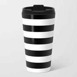 Narrow Horizontal Stripes - White and Black Travel Mug