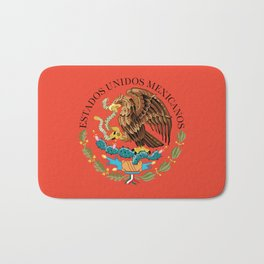 Mexican National Coat of Arms & Seal on Adobe Red Bath Mat
