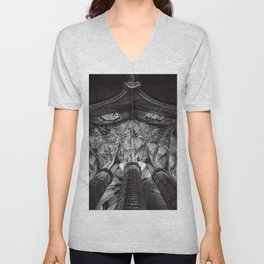Arches and Stained-glass in the arcade, triforium, and clerestory of gothic European cathedral black and white photograph Unisex V-Neck