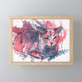 Cat acrylic painting, animal abstract portrait Framed Mini Art Print