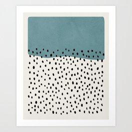 Rain, Abstract, Mid century modern kids wall art, Nursery room Art Print