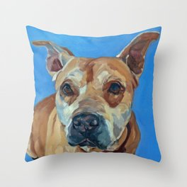 Happy the Bully Dog Portrait Throw Pillow