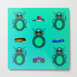 PATTERN GREEN OWLS WITH CARS Metal Print