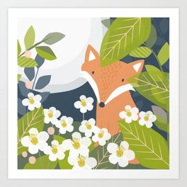 Peeping Fox Art Print
