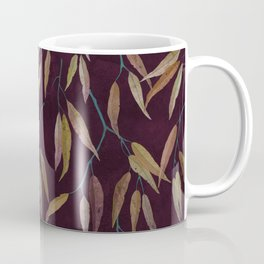 Eucalyptus leaves in autumn colors on plum violet Coffee Mug