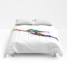 american football player scoring touchdown Comforters