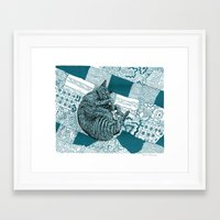 hobbes Framed Art Prints featuring Blue Hobbes by Maritsa Patrinos