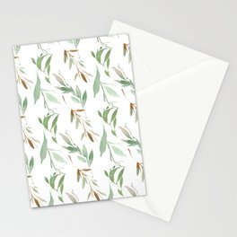 Pastel green brown watercolor hand painted leaves Stationery Cards