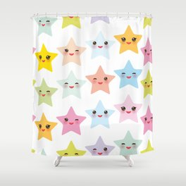 Kawaii stars pattern, face with eyes, pink green blue purple yellow Shower Curtain