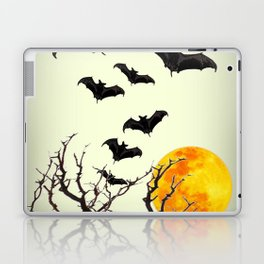 GOTHIC HALLOWEEN FULL MOON BLACK FLYING BATS DESIGN Laptop & iPad Skin