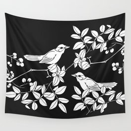 Birds on Branches, Drawing (White on Black) Wall Tapestry