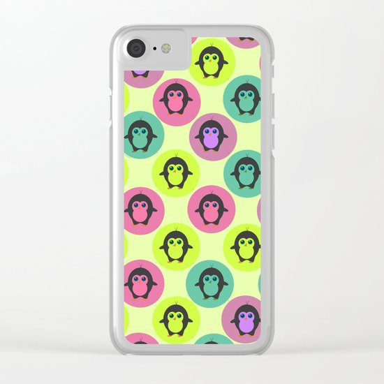 Penguins in colorful bubbles Clear iPhone Case