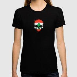 Flag of Lebanon on a Chaotic Splatter Skull T-shirt