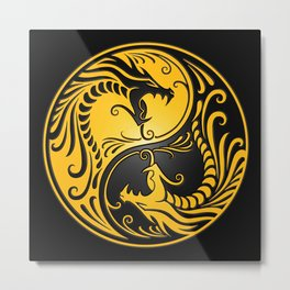Yellow and Black Yin Yang Dragons Metal Print