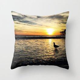 Seagull at Santa Monica Pier California Throw Pillow
