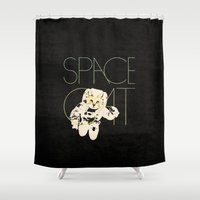 space cat Shower Curtains featuring Space Cat by Koning