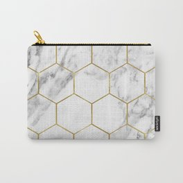 Gold marble hexagon pattern Carry-All Pouch