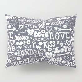 Love doodles in neutral grey and white Pillow Sham