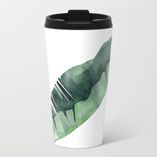 Banana Leaf Green Metal Travel Mug