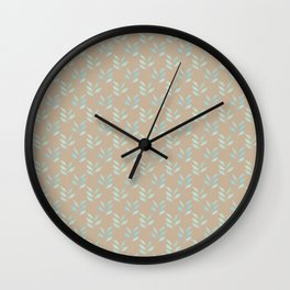 Beige tan and blue watercolor elegant botanical leaves pattern Wall Clock