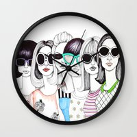 sunglasses Wall Clocks featuring sunglasses by Emily Tumen