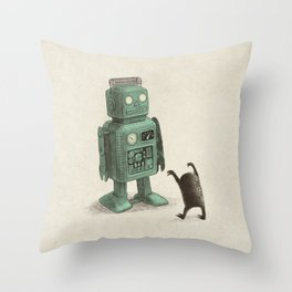 Robot Vs Alien Throw Pillow