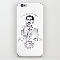 dale cooper iPhone & iPod Skins featuring DALE COOPER : THIS PIE IS SO GOOD IT IS A CRIME by Adrianna Ojrzanowska