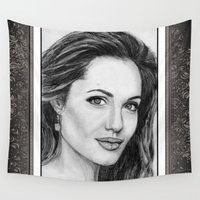 angelina jolie Wall Tapestries featuring Angelina Jolie in 2005 by JMcCombie