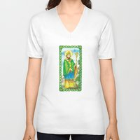 patrick V-neck T-shirts featuring Saint Patrick by TheCore