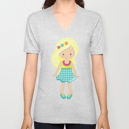 Fashion Girl, Blonde Hair, Blue Skirt, Pink Pearls Unisex V-Neck